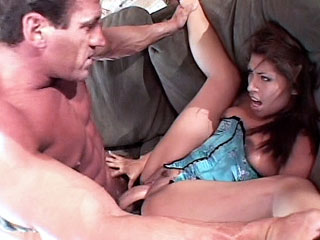 Exotic milf model Lena Julliett playing with her puffy nipples while a guy pounds her slit